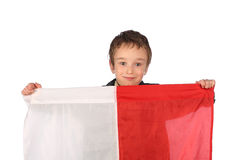 Boy with Polish flag Stock Photo