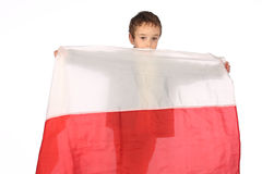 Boy with Polish flag Stock Images