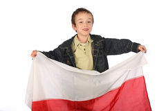 Boy with Polish flag Stock Image