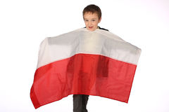 Boy with Polish flag Stock Image