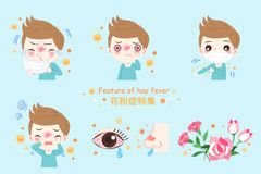Boy with hay fever. Boy with pollen allergy and feature of hay fever in chinese word Royalty Free Stock Image