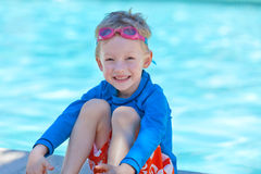 Boy by the pool Royalty Free Stock Photography