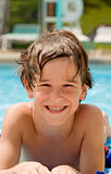Boy at the Pool stock images