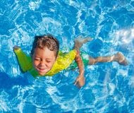 Boy in the pool Stock Photo