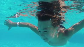 Boy in pool stock video footage