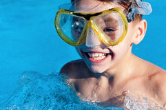Boy in pool Royalty Free Stock Photo