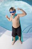 boy pool protecting superhero Στοκ φωτογραφία με δικαίωμα ελεύθερης χρήσης