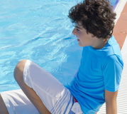 The  Boy is at the pool Royalty Free Stock Photo