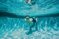 Boy Pool Underwater Confident Stock Photo