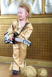 Boy in pop retro suit with guitar Royalty Free Stock Photo