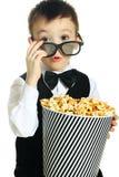 Boy with popcorn Royalty Free Stock Photos
