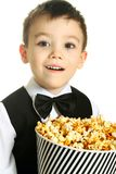 Boy with popcorn Royalty Free Stock Photography