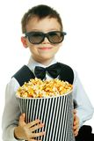 Boy with popcorn Stock Image