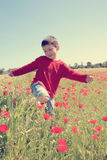 Boy with poppy Royalty Free Stock Photo