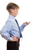 Boy with portable music player royalty free stock photo