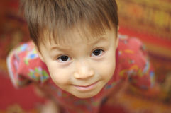 Boy portrait from above Royalty Free Stock Photography
