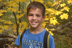 Boy portrait with forest. Game leisure activity autumn Stock Photography