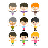 Boy portrait fun happy young expression cute teenager cartoon character and happyness little kid flat human cheerful joy Royalty Free Stock Photography