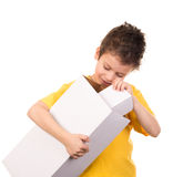 Boy portrait with gift box on white Royalty Free Stock Photography