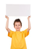 Boy portrait with gift box on white Royalty Free Stock Photos
