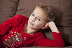 Boy Portrait in pyjama Stock Photos