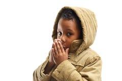 Boy portrait wearing hood Stock Photo