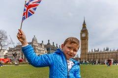 Boy portrait in Westminster, Big Ben Stock Images
