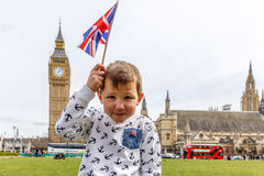 Boy portrait in Westminster, Big Ben Royalty Free Stock Photo