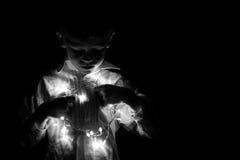Boy portrait whit christmas lights Stock Photo