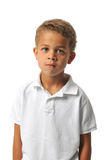 Boy posing. With hands isolated on a white background stock images