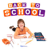 Boy posing for back to school theme. Over white background Stock Images