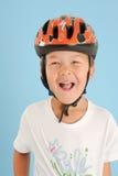 Boy posing with a crash helmet Stock Photos