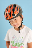 Boy posing with a crash helmet Stock Image