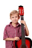 Boy posing with guitar Stock Photography