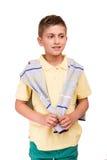 Boy posing over white royalty free stock image