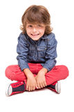 Boy posing over white. Cute blonde boy posing over white background stock photography