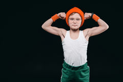 Boy posing in sportswear isolated on black. 12 year old kids and active kids concept stock photography