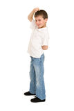 Boy posing on white Stock Photo