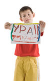 Boy with poster Stock Image