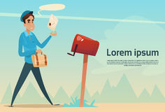 Boy Postman Putting Letter Envelope In Mail Box Post Service Stock Images