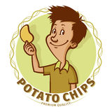Boy with potato chips Stock Images