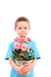 Boy with potted flower Royalty Free Stock Photography