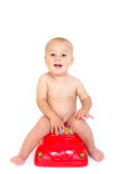 Boy on the potty, Royalty Free Stock Photos