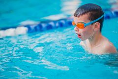 Boy Practice Swimming. And swimming Freestyle in the pool Royalty Free Stock Image