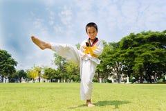 Boy practice taekwondo Royalty Free Stock Image