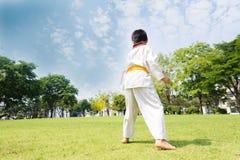 Boy practice taekwondo Stock Image