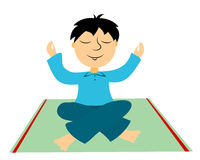 The boy practices yoga Stock Image
