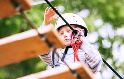 Boy practicing air track  at adrenalin park Stock Image