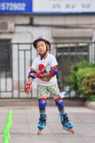 Boy practicing inline skating, Beijing, China Stock Photography