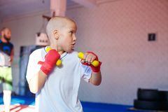 Boy practicing strikes training in the gym royalty free stock photo